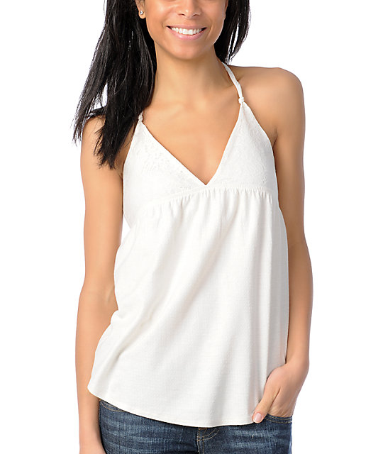 Billabong Fit To Be Tied White Tank Top