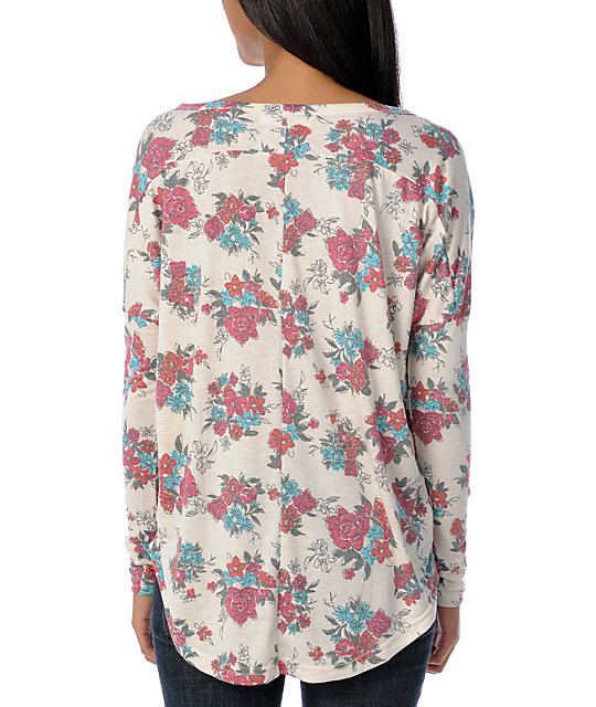 Billabong Go Getter Cream Floral Henley Long Sleeve Shirt