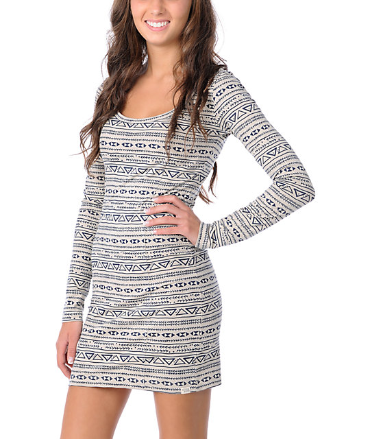 Billabong Hey There Grey Long Sleeve Dress