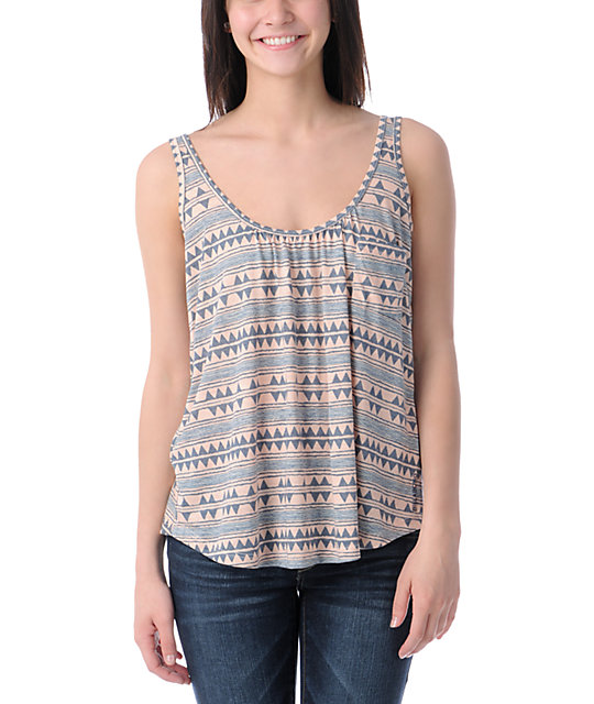 Billabong In Pieces Peach & Blue Tribal Print Tank Top