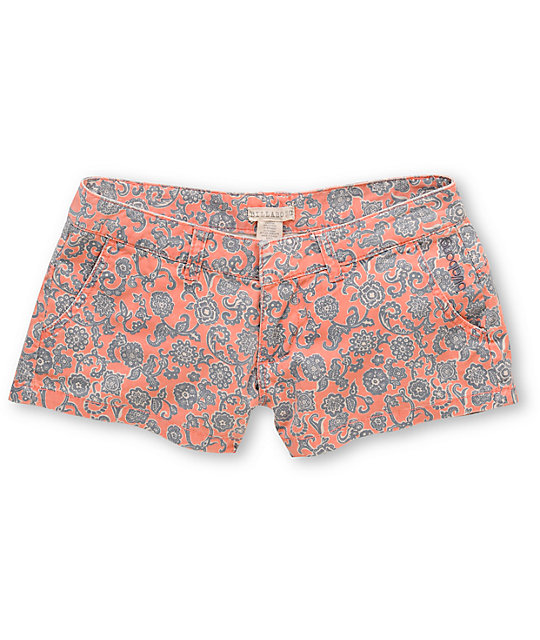 Billabong Keep On Coral Floral Print Canvas 2.5 Shorts