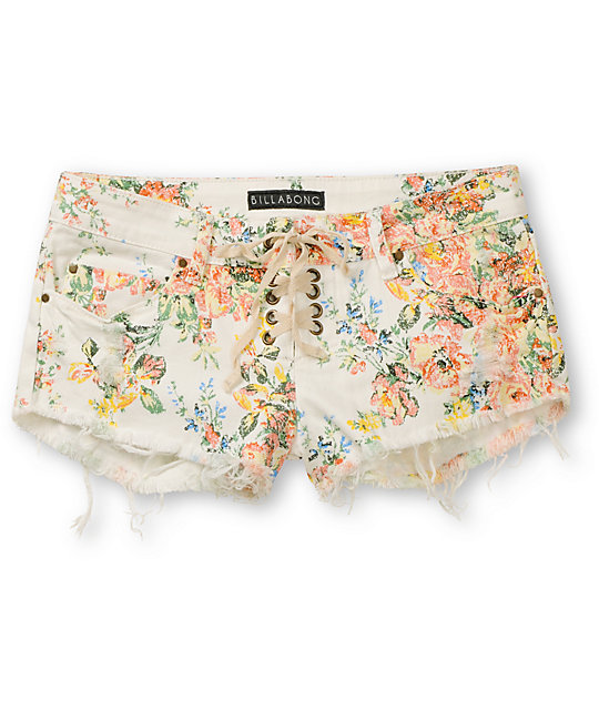 Billabong Lite Hearted White Cut Off Denim Shorts