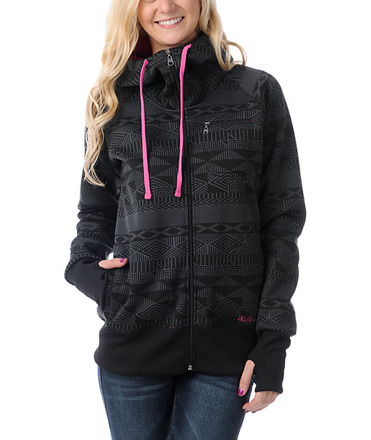 Billabong Little Bit Black & Pink Full Zip Tech Fleece Jacket