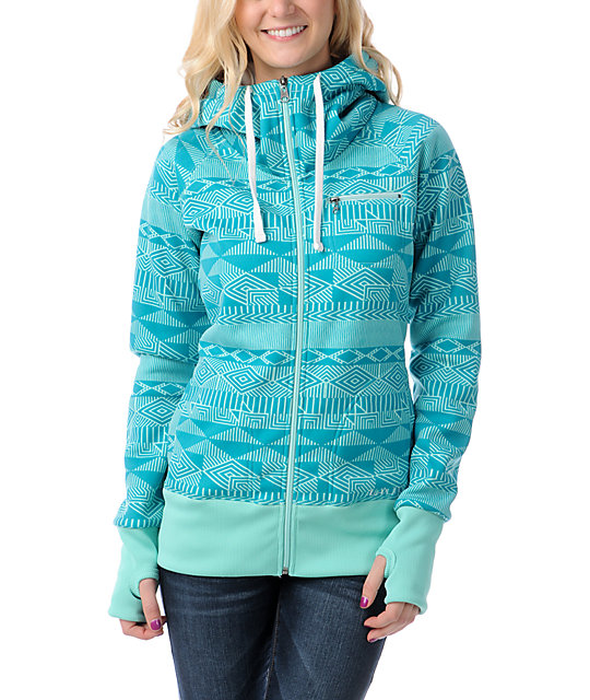 Billabong Little Bit Teal Full Zip Tech Fleece Jacket