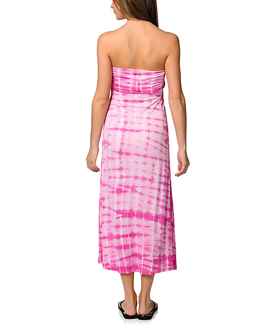 Billabong Midway Luv Pink Tie Dye Maxi Skirt