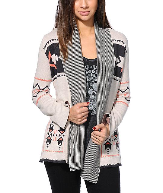 3d1c47ad8 Billabong Peaceful Powers Tribal Print Wrap Sweater