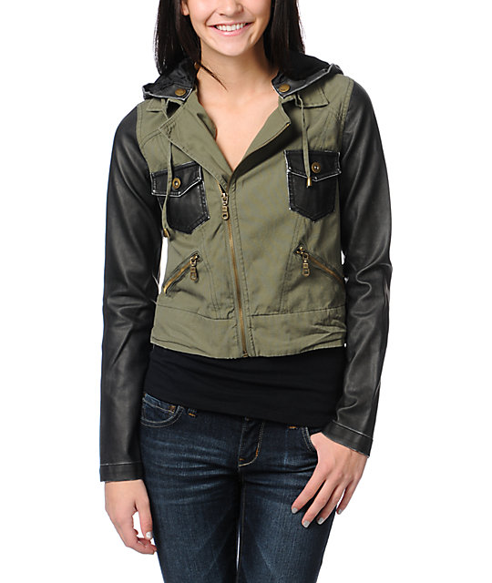 Billabong Rev Up Olive Green Motorcycle Jacket
