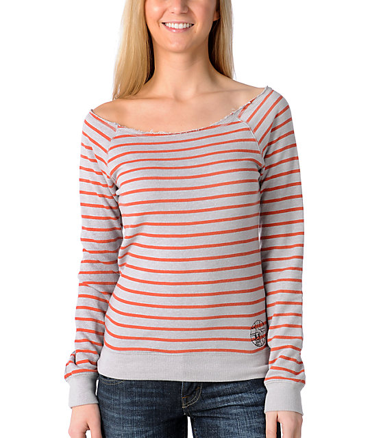 Billabong Sailor Coral Stripe Cropped Pullover Hoodie