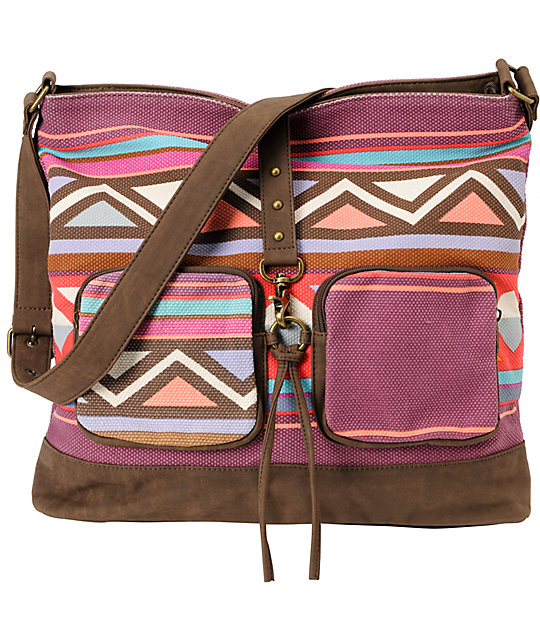 Billabong So Far Pink Tribal Print Large Shoulder Bag