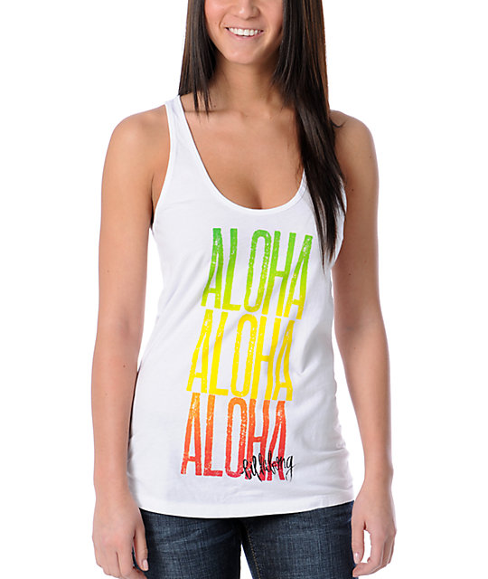 Billabong Somewhere Hawaii White Tank Top