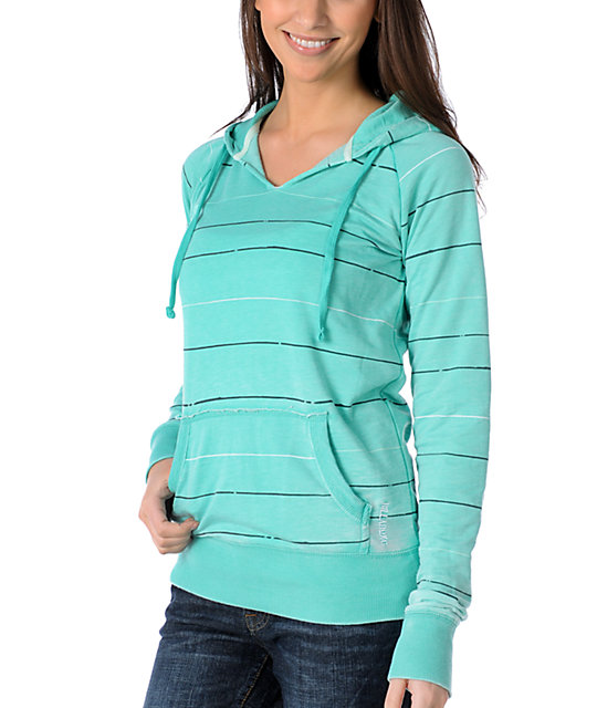 Billabong Teal Bizarre Burnout Pullover Hoodie