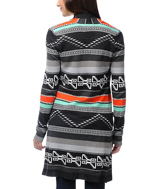549f93507 ... Billabong Tralalah Tribal Print Long Cardigan Sweater