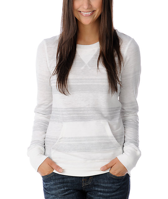 Billabong Vander Soft Stripe White Sweatshirt