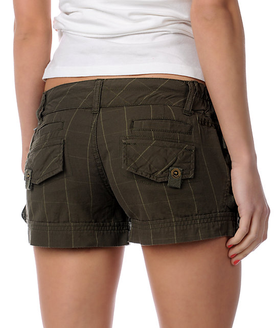 Billabong Volcano Plaid Olive Shorts