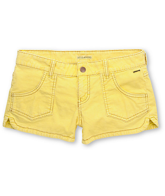 Billabong Walk On Yellow Corduroy Shorts