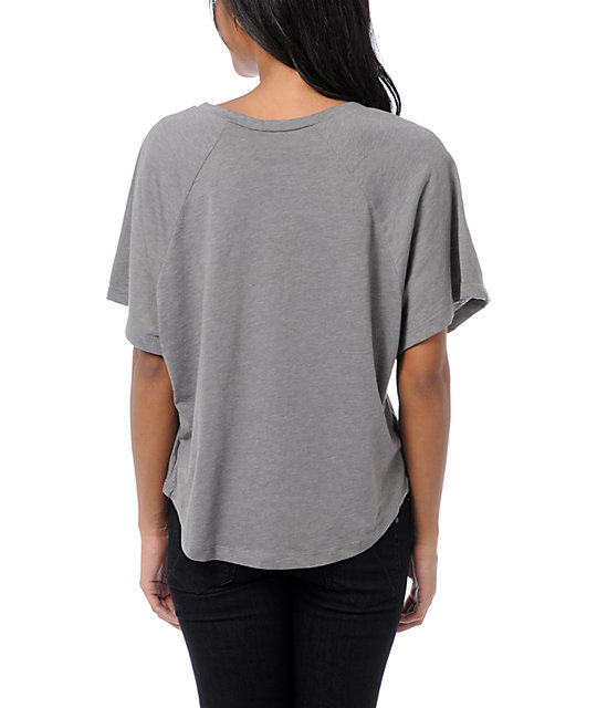 Billabong Wild And Fast Grey V-Neck T-Shirt