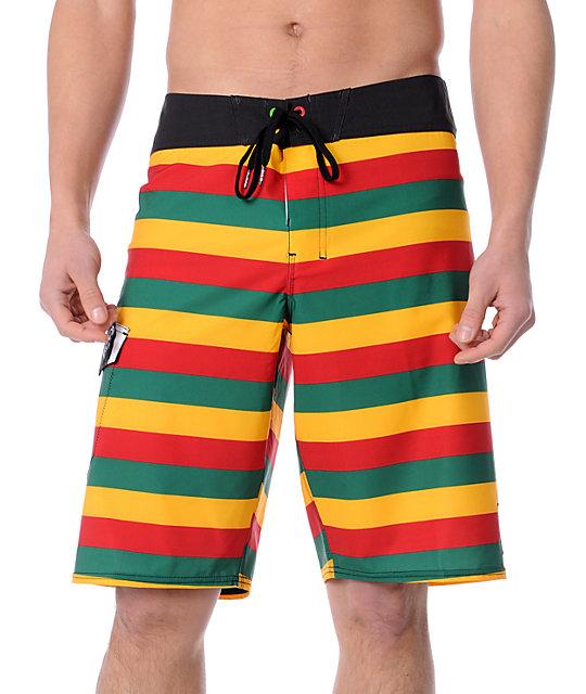 c45b7b2688 Billabong x Bob Marley Exodus Rasta Stripe Board Shorts | Zumiez