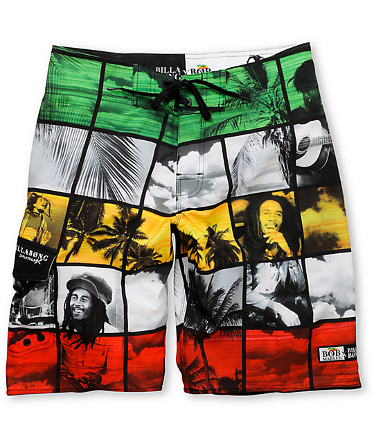Billabong X Bob Marley Simmer Down Rasta 21 Board Shorts