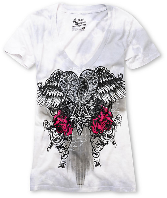 Bitter Sweet Attack Of The Flying Heart Grey V-Neck T-Shirt