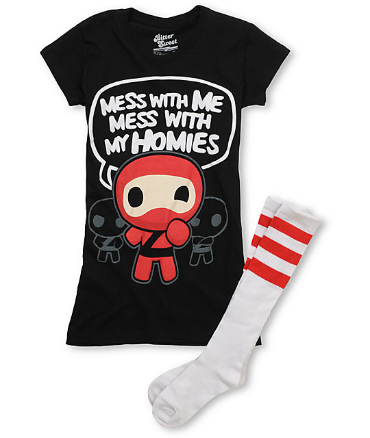 Bitter Sweet Dont Mess Ninja T-Shirt & Tube Socks Pack