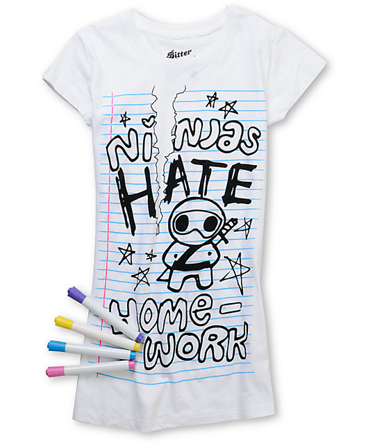 Bitter Sweet Ninjas Hate Homework White Coloring T-Shirt | Zumiez