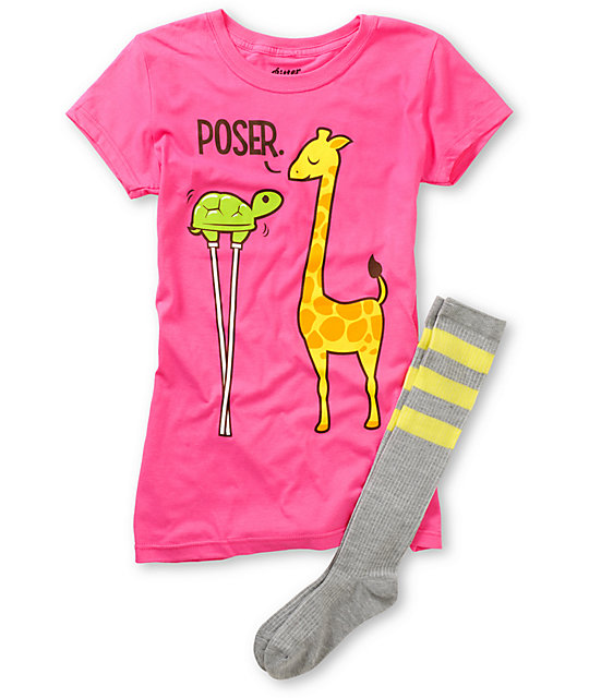 Bitter Sweet Poser Turtle Pink T-Shirt & Sock Pack