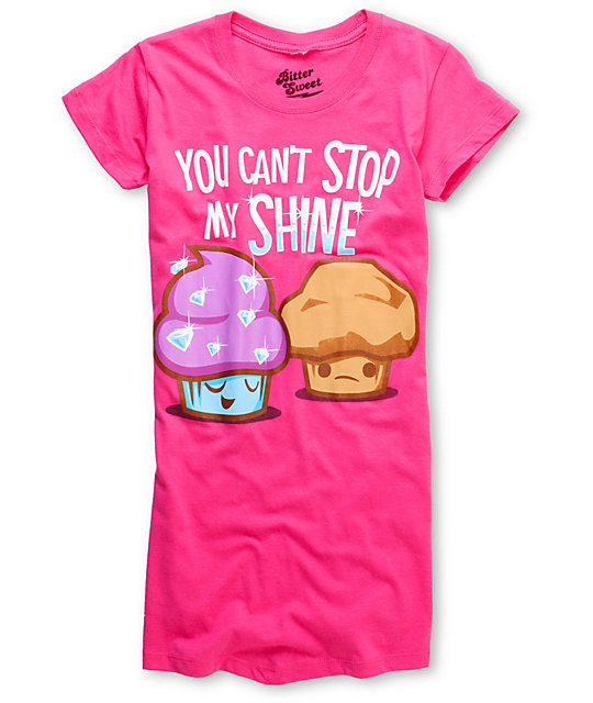 Bitter Sweet Stop My Shine Pink Scratch & Sniff T-Shirt