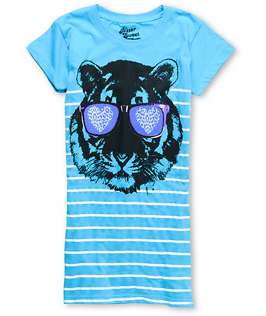 Bitter Sweet Sunglasses Tiger Heat Turquoise T-Shirt