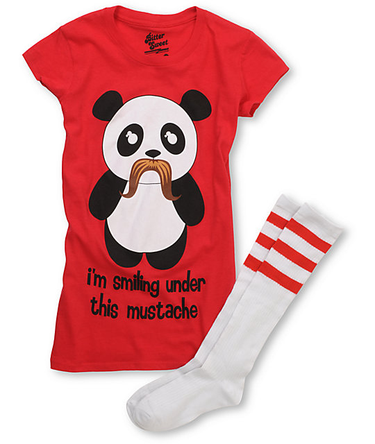 Bitter Sweet Under Mustache T-Shirt & Tube Socks Pack