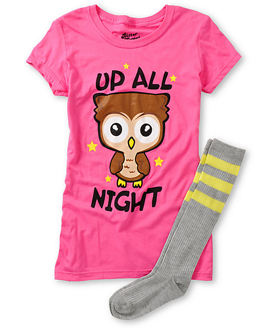 Bitter Sweet Up All Night Graphic T-Shirt & Socks Pack