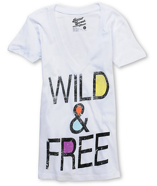 Bitter Sweet Wild N Free White V-Neck T-Shirt