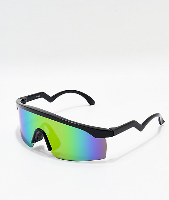 a3295469f3 Black   Multicolored Oversized Shield Sunglasses