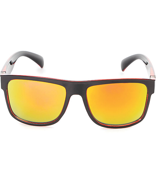 Black & Red Flat Top Sunglasses
