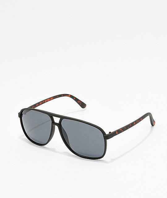 Black & Tortoise Square Aviator Sunglasses