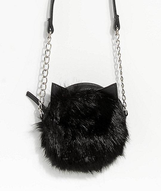 35a0bb4e57 Black Faux Fur Crossbody Bag