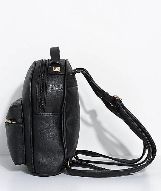 53c0b3b61edc ... Black Faux Leather Mini Backpack ...