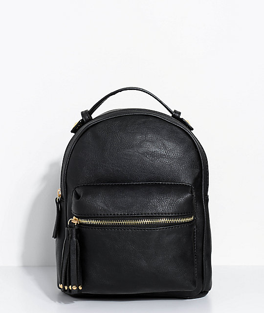 37bcd99c0 Black Faux Leather Mini Backpack