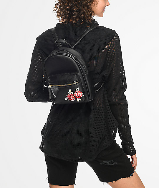 Black Rose Embroidered Mini Backpack