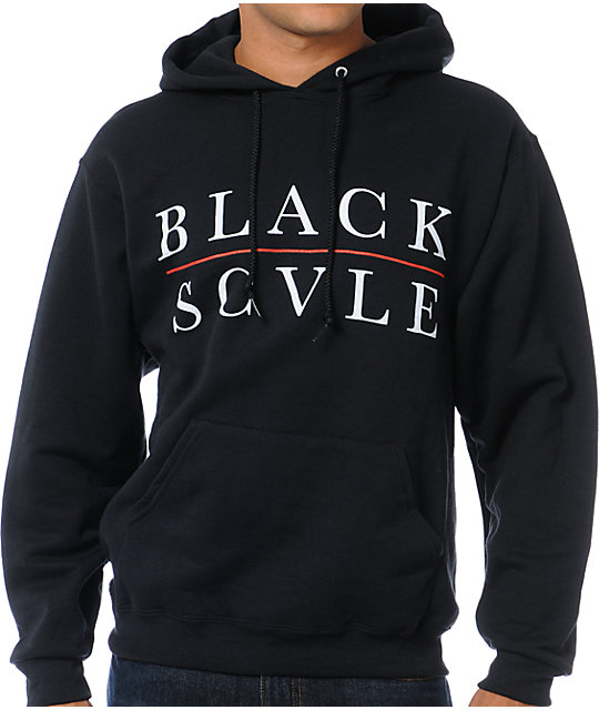 Black Scale Red Line Logotype Black Pullover Hoodie