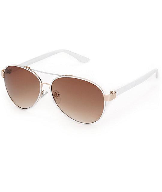 a63373debc Blair gafas de sol de aviador blancas | Zumiez