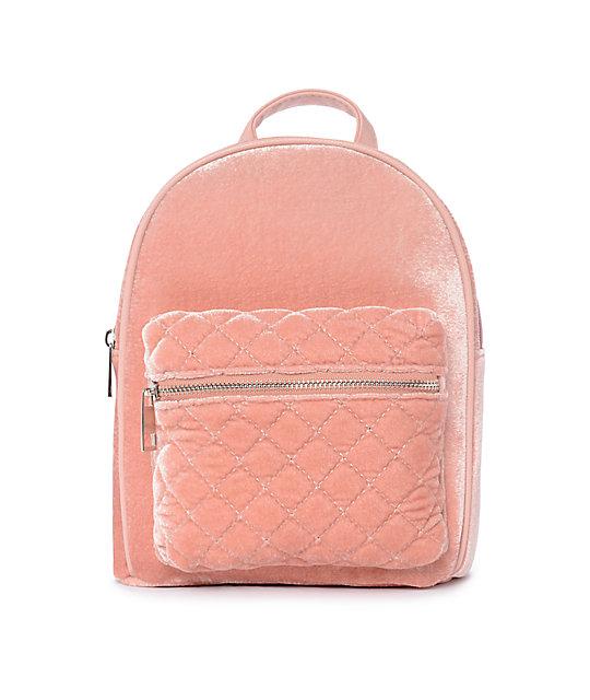 1535c27538d Blush Pink Velvet Mini Backpack