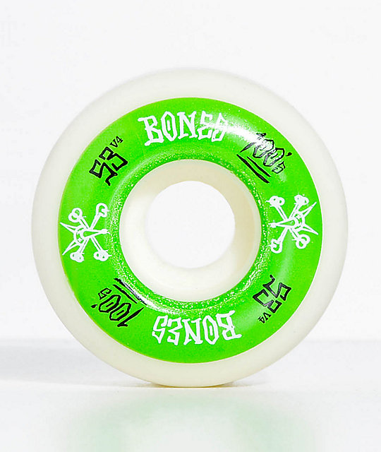 Bones 100 Ringers 53mm Green & White Skateboard Wheels