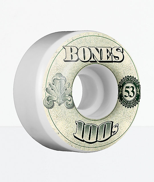 Bones 100s 53mm White Skateboard Wheels