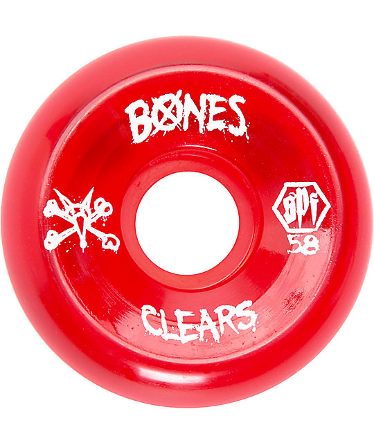 Bones SPF Clear Red 58mm Skateboard Wheels