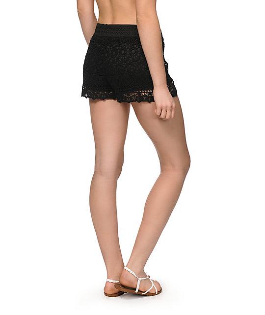 Breeze Ever Black Crochet Shorts Zumiez