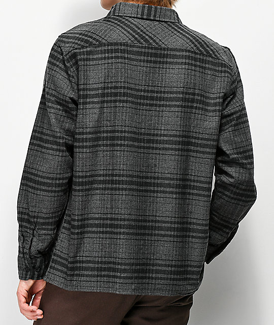Brixton Archie Black & Heather Grey Flannel Shirt