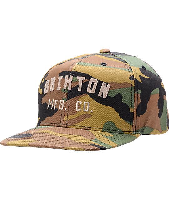 0797e28cdeea0 Brixton Arden Camo Snapback Hat