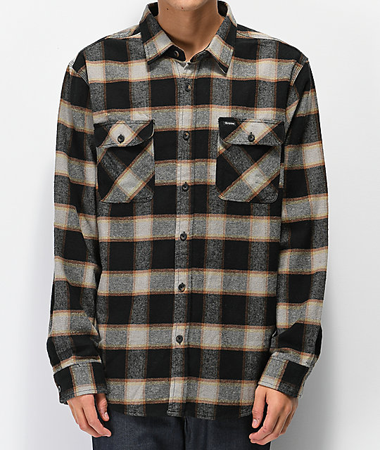Brixton Bowery Black & Cream Flannel Shirt