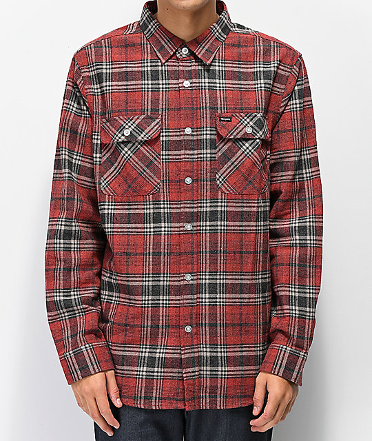 Brixton Bowery Brick Red Flannel Shirt
