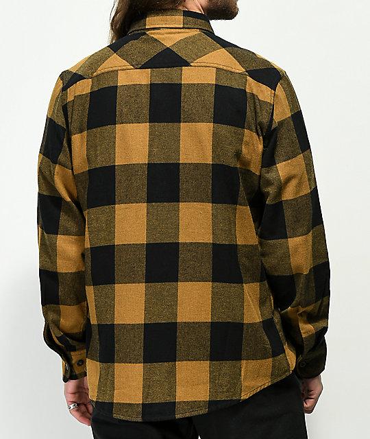 Brixton Bowery Gold   Black Flannel Shirt  2a32429ae8c